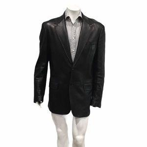 Gucci Mens Black Leather 2 Button Blazer